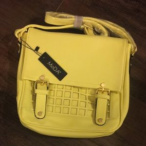 NWT MoDa Yellow Crossbody Square Bag